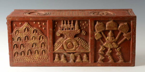 19th Century Antique Thai Lanna Wooden Bible Chest with Design on 5 Sides