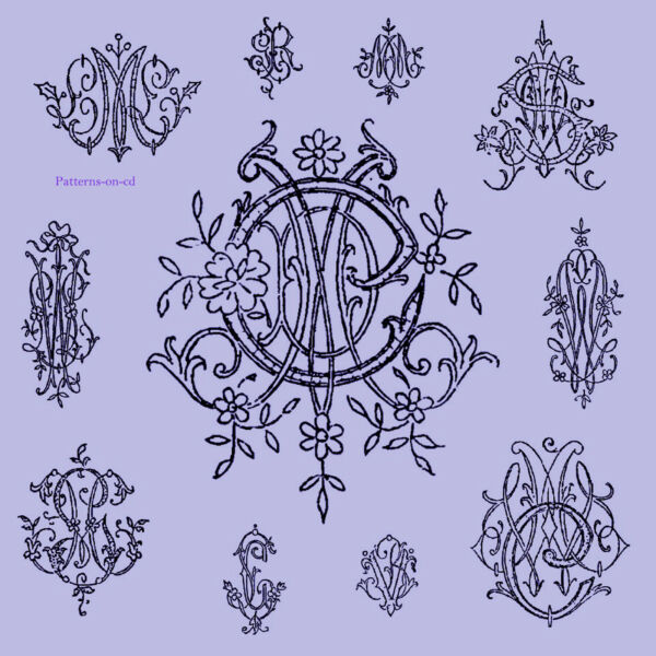 Vintage Hand Embroidery Monogram design Patterns for Handkerchief linen towel cd