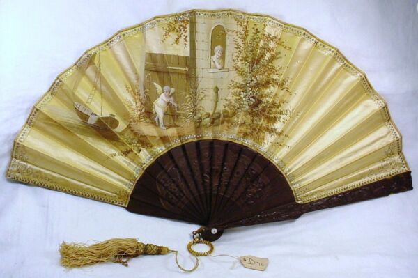 INCREDIBLE ANTIQUE SILK PAINTED GLASS EYED DOG amp; SNAKE FRAME FAN quot;THE BESTquot; $849.99