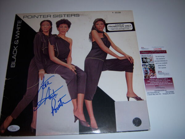 ANITA POINTER THE POINTER SISTERS BLACK AND WHITE JSACOA SIGNED LP RECORD ALBUM