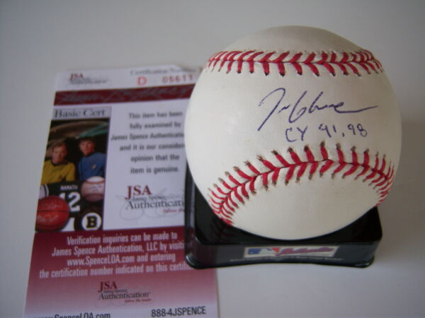 TOM GLAVINE BRAVES CY 91&98 JSACOA SIGNED MLB BASEBALL