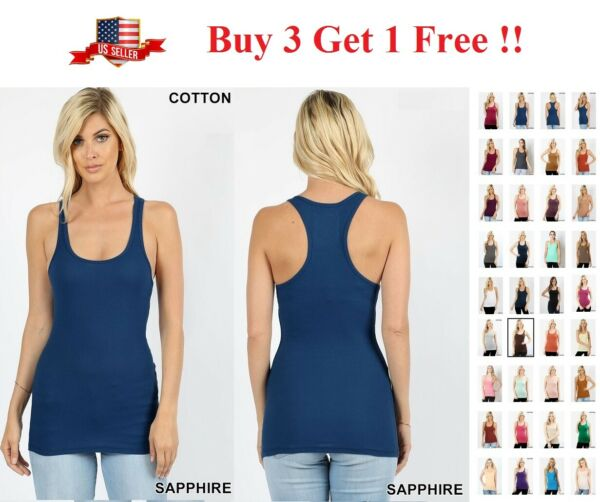 SOFT COTTON  STRETCH RIBBED RACERBACK TANK TOP LONG WORKOUT YOGA  SPORT FITNESS $7.95