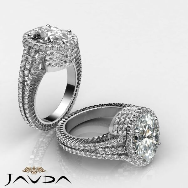 Sturdy Oval Diamond Exquisite Engagement Ring GIA G Color VS2 Platinum 950 3.5ct