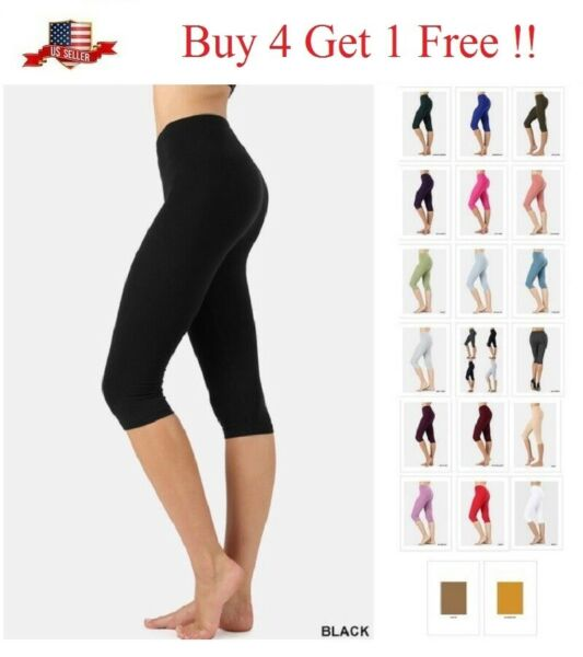 WOMEN PREMIUM STRETCH COTTON GYM YOGA BELOW KNEE CAPRI LEGGINGS MISSES PLUS S-3X