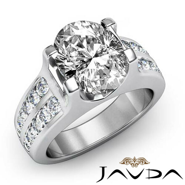 Sturdy Oval Diamond Channel Set Engagement Ring GIA I Color VS2 Platinum 1.62 ct