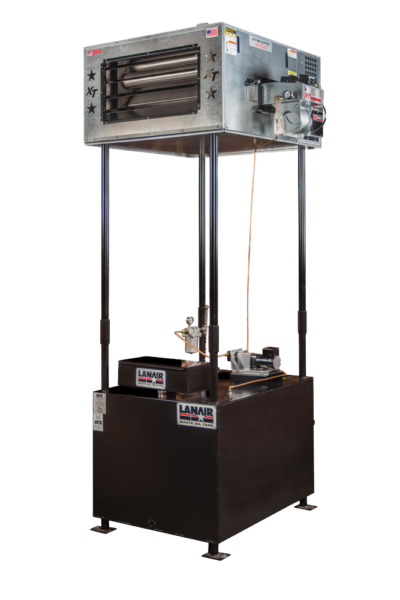 Waste Oil HeaterFurnace Lanair MX200 with tank and chimney kit FREE SHIP SALE!