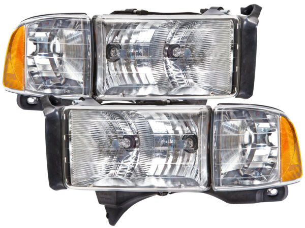 Headlights Pair Set Fits 99-01 Dodge Ram Sport Pickup 1500 2500 3500