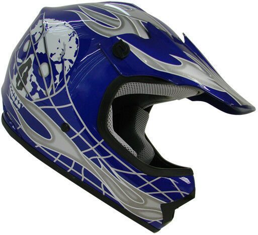 Youth Kids Motocross Dirt Bike Blue Silver Skull Mx Atv Motorcross Helmet~S M L
