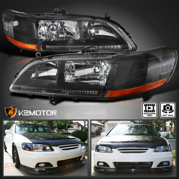 For 1998 2002 Honda Accord 2 4Dr Black Headlights Lamps Pair LeftRight 98 02