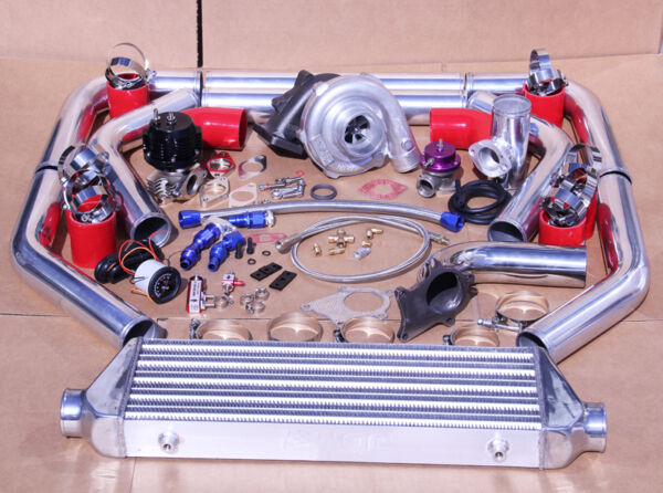JDM UNIVERSAL T3/T4 TURBO KIT TURBOCHARGER+INTERCOOLER+WASTEGATE+BOV+BOOST GAUGE