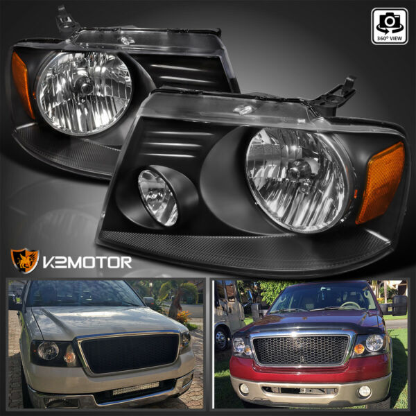 2004-2008 Ford F150 Truck/ 06-08 Lincoln Mark Lt Crystal Black Headlights Pair