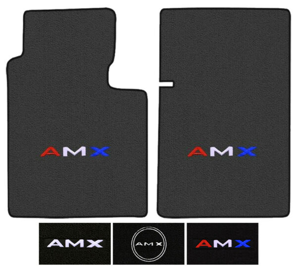 AMC AMX Custom Logo Cutpile Carpet Floor Mats - Choose Mat Color And Logo