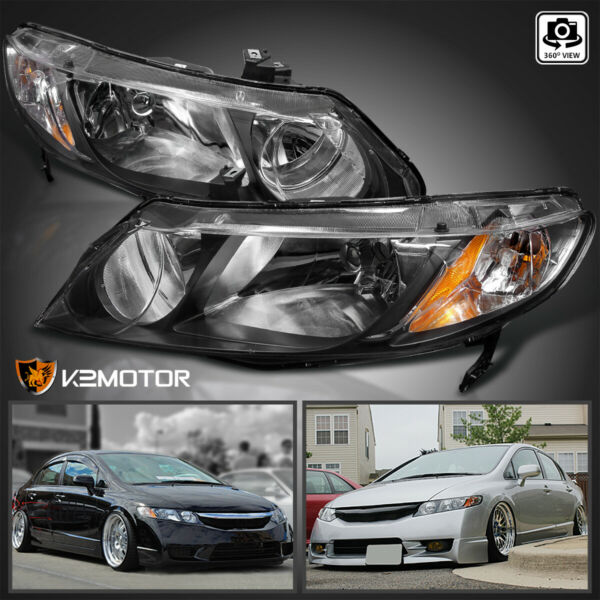 For 2006 2011 Honda Civic Sedan 4Dr Replacement Black Headlights LeftRight Pair
