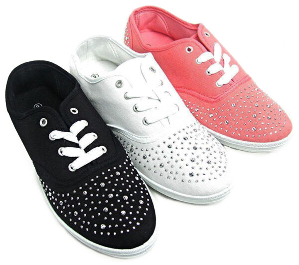 Womens Silver Studded Canvas Lace Sneakers Tennis Shoes Black White Pink NEW