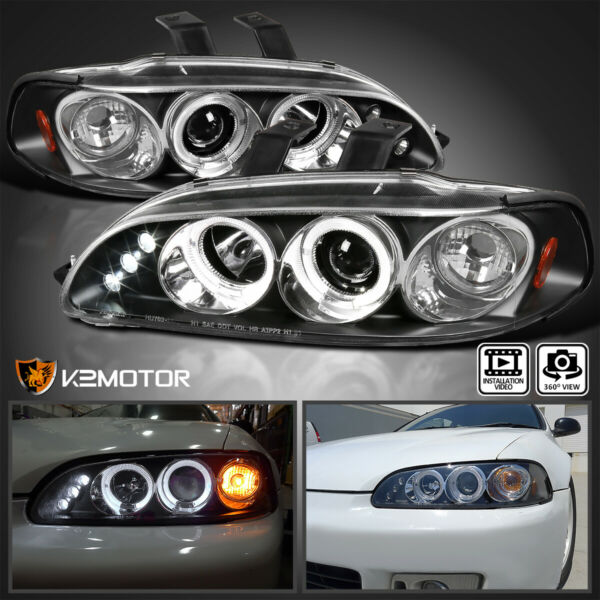 For 1992 1995 Honda Civic 2 3 4Dr Black LED Halo Projector Headlights LeftRight