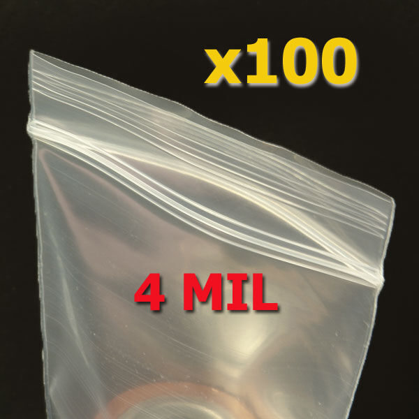 100 Small 2quot;x 3quot; Plastic Sealock Seal Lock Bags 4 MIL
