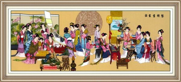 HUGE ORIENTAL CROSS STITCH 330 cm x 150 cm Completed  Hand MadeTapestry