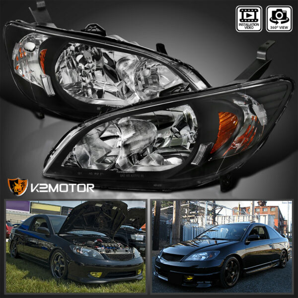 For 2004 2005 Honda Civic Black Headlights Lamps Pair Replacement LeftRight
