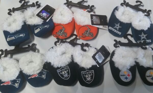 Football Infant Newborn Baby Booties Slippers NEW Shower Gift - Pick team