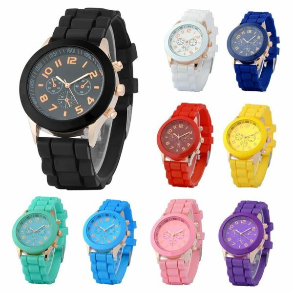 Colorful Unisex Men Women Silicone Jelly Quartz Analog Sports Wrist Watch New