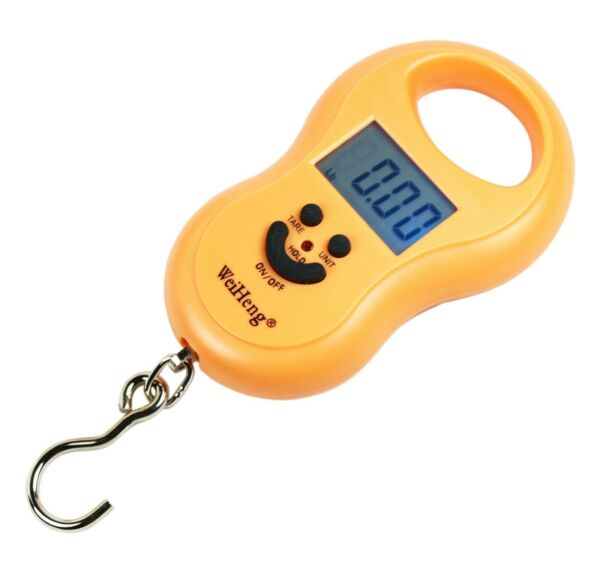 50Kg  5g-10g Portable Digital Hanging  Fishing Scale with Lighted LCD Display