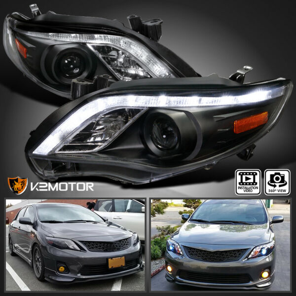 Fits 2011-2013 Toyota Corolla LED Strip Projector Headlights Black Left+Right