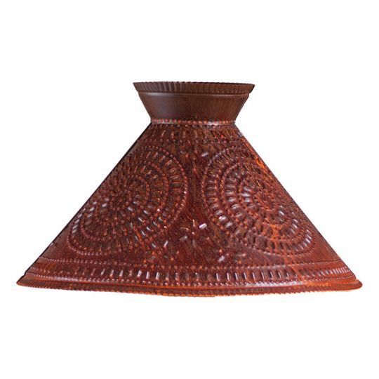 Roosevelt new large Rusty punched tin lamp Shade