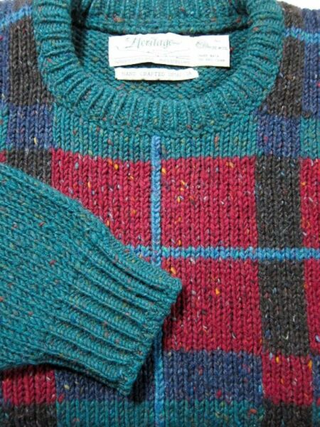 VINTAGE Heritage Heavy Wool Green Plaid Sweater Made in Ireland L