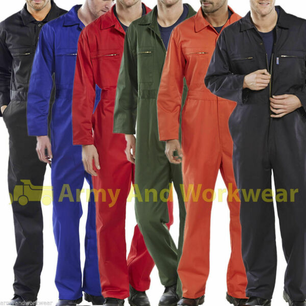 Heavy Duty Super Click Boilersuit Coverall Overalls Workwear Zip Front  Pockets