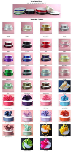DOUBLE FACED SATIN Ribbon 50 100yards Roll 8 sizes 34 colors 100% polyester