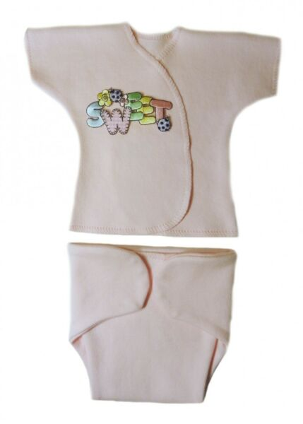 Sweet Baby Girl Pink Diaper Cover and Shirt Set - 4 Preemie and Newborn Sizes!
