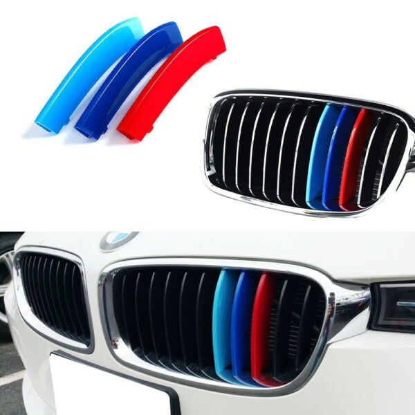 M-Sport 3-Color Grille Insert Trims For BMW F30 3 Series wStandard Kidney Grill