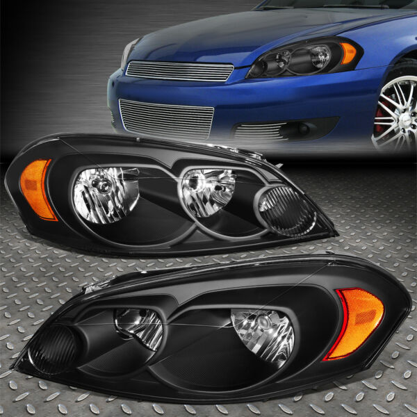 FOR 06 16 CHEVY IMPALA LIMITED BLACK HOUSING AMBER CORNER HEADLIGHT HEAD LAMPS