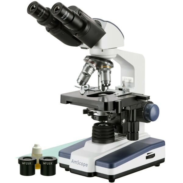 AmScope 40X-2500X LED Lab Compound Microscope with 3D Two-Layer Mechanical Stage