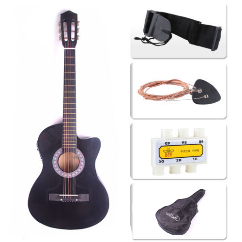 Electric Acoustic Guitar Cutaway Design With Guitar Case Strap  Black New