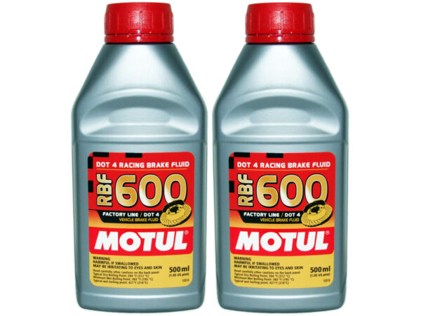 (2X 500mL) MOTUL RBF 600 FACTORY LINE 100% SYNTHETIC DOT 4 RACING BRAKE FLUID