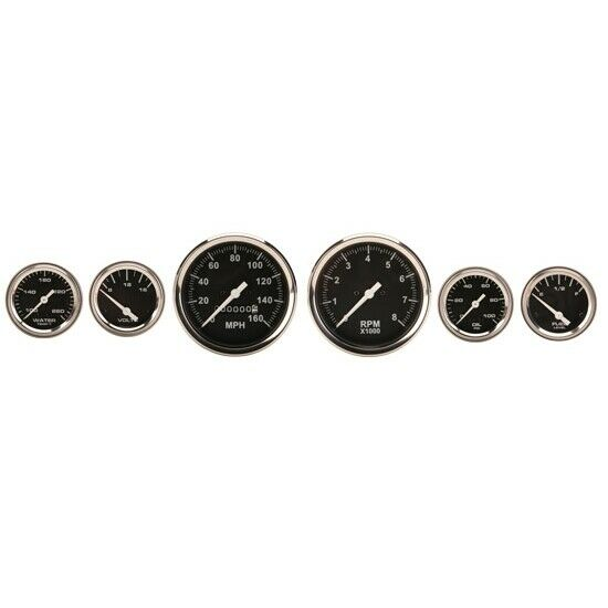 Speedway Black 6 Gauge Set Kit w/ Speedo, Tach, Fuel, Temp, Volt, Oil Pressue