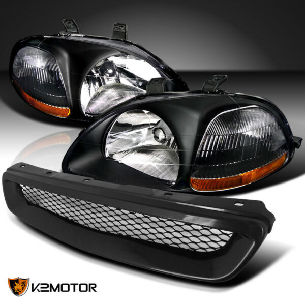 For 1996 1998 Honda Civic Black Headlights LampsABS T R Front Mesh Hood Grille