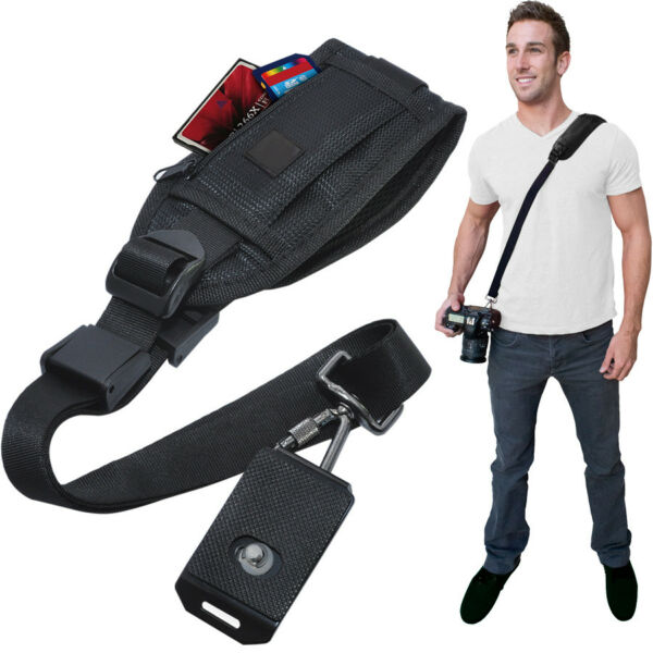Quick Release Shoulder Strap for DSLR Cameras & Camcorders with Zippered Pocket
