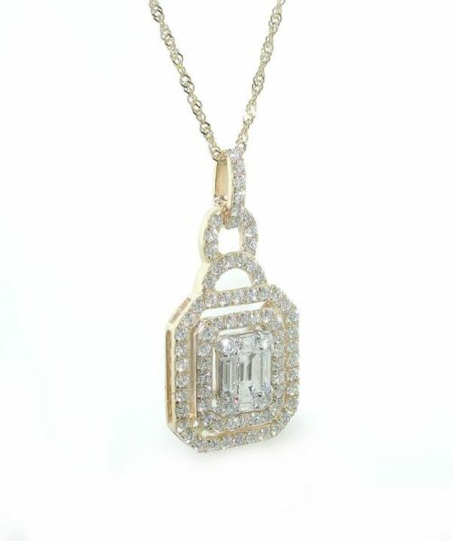 1.5 CT Double Halo Emerald Cut Illusion DIAMOND Pendant & Chain Yellow Gold 14K