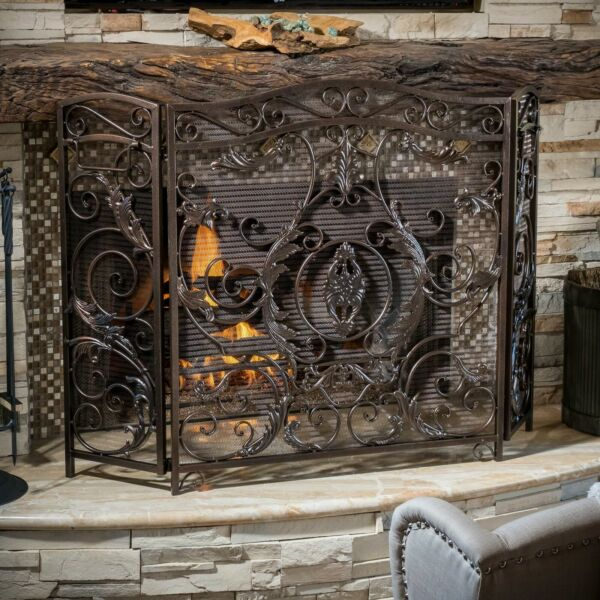 Waterbury Traditional Iron Fireplace Screen Gold on Black