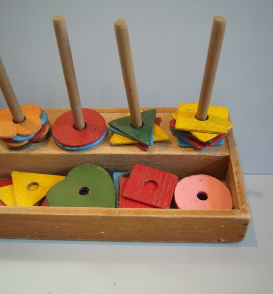 VTG Folk Art Primitive Wood Shape Game in Box