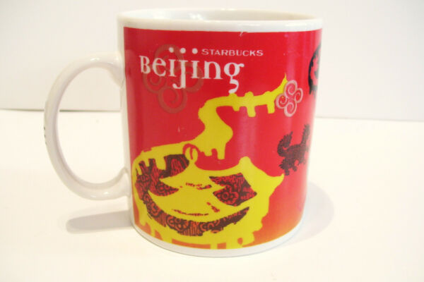 1999 Starbucks Beijing Coffee Mug Cup  20 Ounces Red Yellow Black