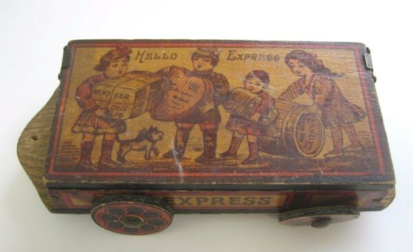 Antique Pyrography wood Christmas toy box wagon candy pencil box