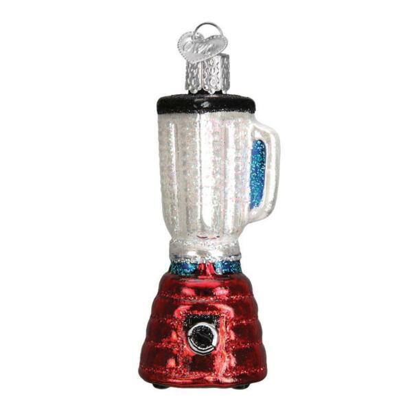 RED BLENDER OLD WORLD CHRISTMAS GLASS KITCHEN APPLIANCE ORNAMENT NWT 32233