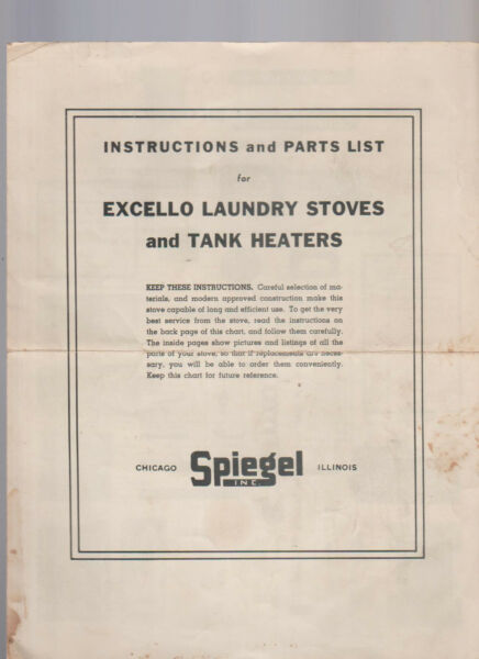 Excello Laundry Stoves amp; Tank Heaters Instructions amp; Parts List Spiegel 1940s $17.16