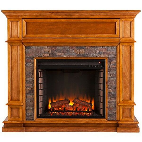 Southern Enterprises Belleview Faux Stone Media Center Electric Fireplace Sienna