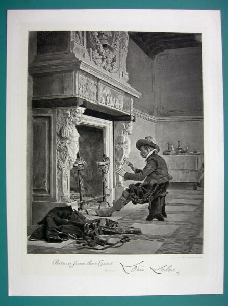 HUNTER Returns Home Warms Up Before Huge Fireplace Antique Photogravure Print
