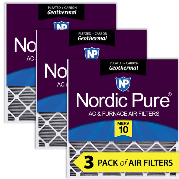 30x32x2 Geothermal MERV 10 Pleated Plus Carbon AC Furnace Filters 3 Pack $86.11