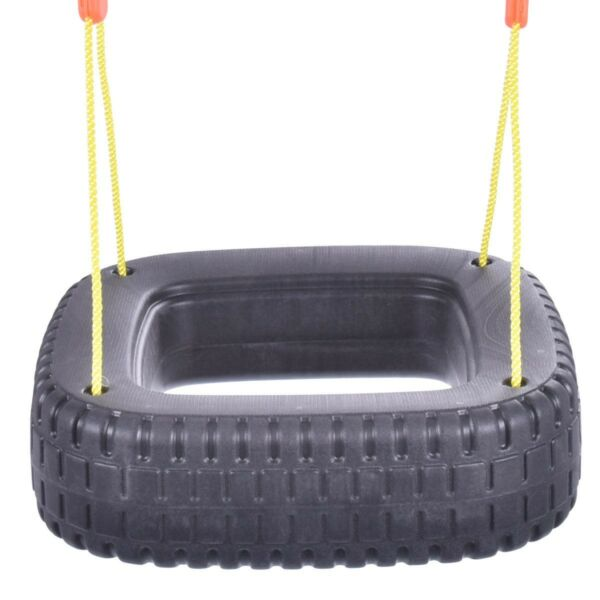 Black Outdoor Classic Tire Swing 2 Kids Children Play Durable Backyard Swing Set